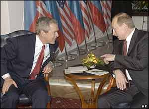 US President George W Bush and Russian President Vladimir Putin during the talks in Bratislava