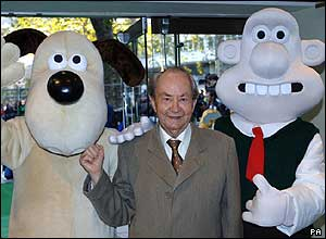Gromit, voice actor Peter Sallis and Wallace