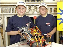 Michael [right] with team mate Ruairi and their space station