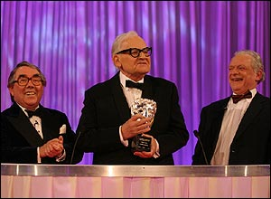 Ronnie Corbett, Ronnie Barker (holding a BAFTA trophy) and David Jason, at the Ronnie Barker BAFTA tribute
