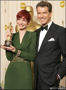 Sandy Powell and Pierce Brosnan