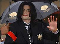 Michael Jackson outside court in the US