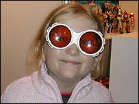 Press Packer Lucy with her Willy Wonka glasses on