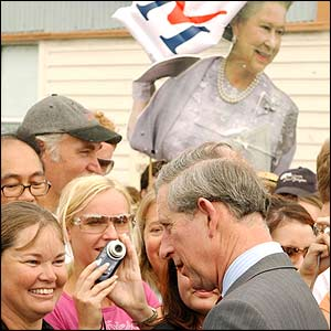 Prince Charles is greeted by a crowd outside the West Australian Maritime Museum