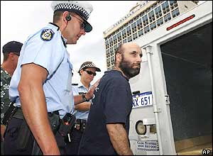 Police arrest a protester outside the Western Australian Maritime Museum