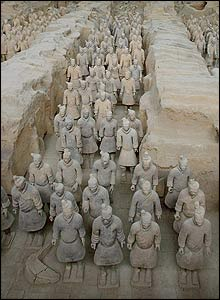 The wall was started by Emperor Qin Shi Huangdi. He was buried with over 8,000 of these lifesize terracotta soldiers when he died