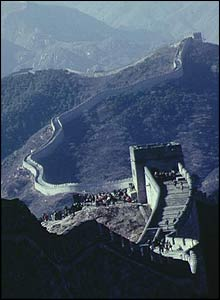 The Great Wall of China, one of the best known landmarks in the world. It was first built in 220 BC