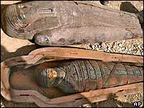 The mummy in its coffin