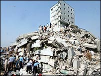View of a collapsed building in Islamabad following a strong earthquake