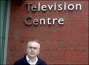 Newsreader Huw Edwards at Television Centre in White City, London.