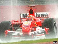 Michael Schumacher in the rain in Melbourne