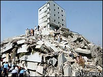 A collapsed building in Islamabad following the earthquake in Pakistan