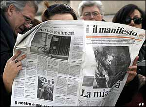 Italians read about the hostage release in the press