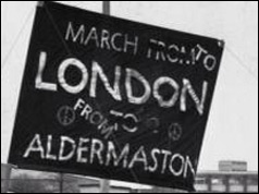 Banner says March to London from Aldermaston - 1960