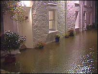 Houses under water in Bangor, north Wales
