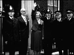 Margaret Thatcher, beside her husband Denis, waves to crowds from Downing Street