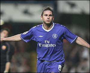 Frank Lampard celebrates scoring Chelsea's second goal of the game
