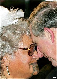Prince Charles rubbing noses in traditional Maori welcome