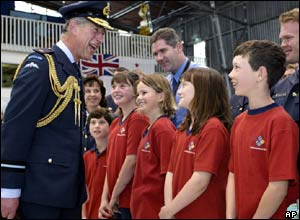 Children from Whenuapai School meeting Prince Charles