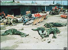 Dead bodies of soldiers