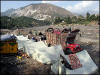 Refugee tents in the quake zone