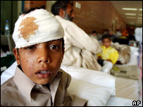 Raees, 11, who was injured in the quake, is fortunate to be treated for his injuries.
