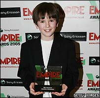 Freddie Highmore with his Best Newcomer Award