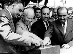 President Nasser, Nikita Khruschev, President Arif of Iraq and President Sallal of Yemen