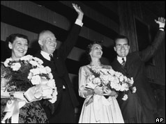 Dwight D Eisenhower and Richard Nixon celebrate with their wives
