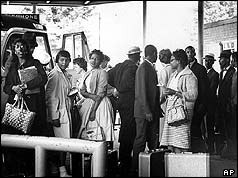 Freedom Riders waiting to board bus at Montgomery depot