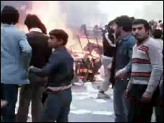 Fires burn during riots in Tehran