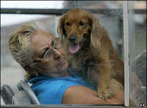A woman and her dog are moved to a safer area in Cuba as Wilma heads their way