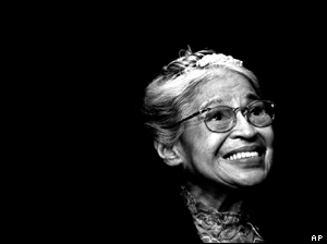 Rosa Parks, pictured in 1999.