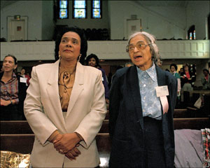 Rosa Parks (right) and Coretta Scott King, wife of assassinated civil rights leader Dr. Martin Luther King, in 1988.