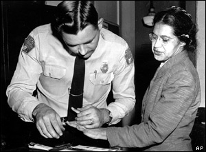Rosa is fingerprinted by the sheriff.