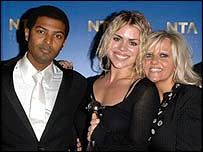 Billie Piper with Doctor Who co-stars Noel Clarke and Camille Codurui