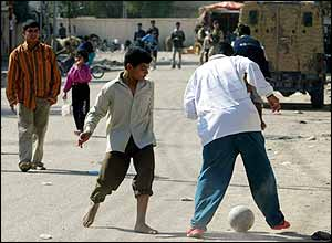 Children  playing football in Iraq