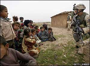 Children and a soldier in Iraq