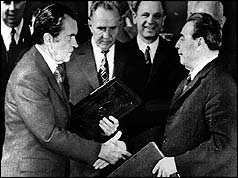 President Richard M. Nixon shakes hands with Communist Party leader Leonid Brezhnev on 29 May 1972