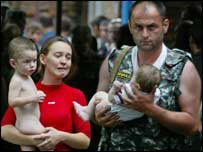 Children rescued from the Beslan siege