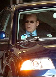 Prince Albert leaving the clinic