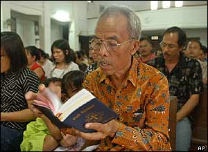 Churchgoers in Banda Aceh, Indonesia