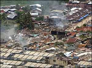 Damage to the town of Gunung Sitoli on Nias island
