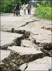 Cracks in the roads on the island of Nias