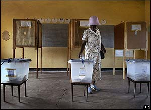 A Zimbabwean woman votes close to the small town of Tsholotsho.