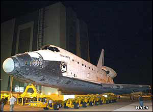 Shuttle Discovery being moved