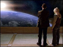 The Doctor and Rose look out on a dying Earth