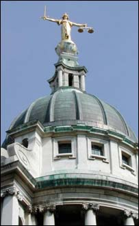 The Old Bailey - the UK's famous court - with it's Scales of Justice