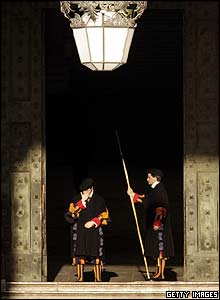 Swiss Guards at the Vatican's Bronze Door