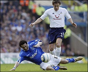 Jermaine Pennant is tackled by Tottenham's Michael Brown